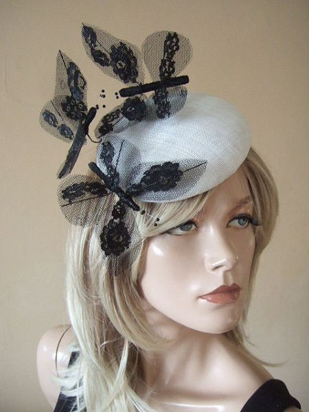 Black Laced Large Butterflies on White Button Pillbox Headpiece Fascinator